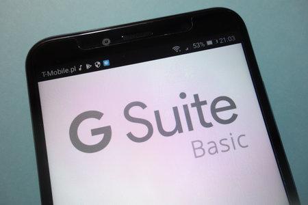 KONSKIE, POLAND - SEPTEMBER 15, 2018: Google G Suite on smartphone