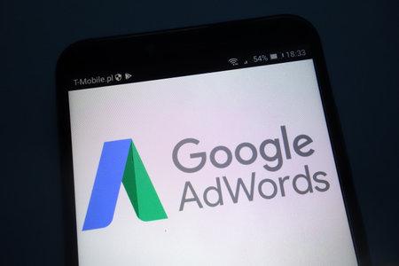 KONSKIE, POLAND - SEPTEMBER 22, 2018: Google AdWords on a smartphone