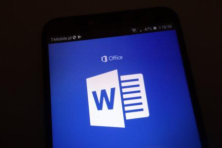 KONSKIE, POLAND - SEPTEMBER 22, 2018: Microsoft Word on smartphone