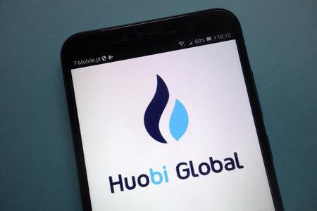 KONSKIE, POLAND - SEPTEMBER 22, 2018: Huobi. Global cryptocurrency exchange on a smartphone