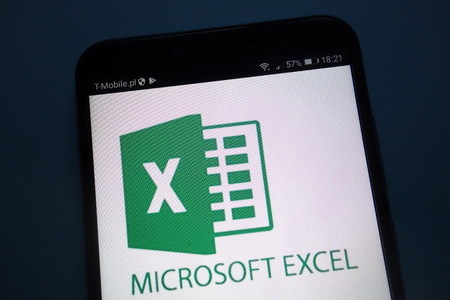 KONSKIE, POLAND - SEPTEMBER 22, 2018: Microsoft Excel on a smartphone