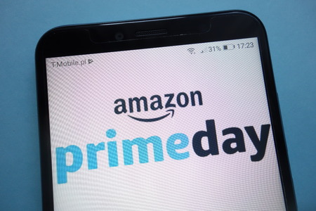 KONSKIE, POLAND - SEPTEMBER 29, 2018: the Amazon prime day on a smartphone