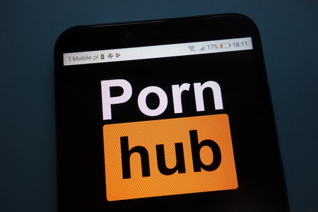 KONSKIE, POLAND - SEPTEMBER 29, 2018: Pornhub on a smartphone