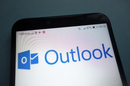 KONSKIE, POLAND - OCTOBER 28, 2018: Microsoft Outlook  on smartphone Editorial