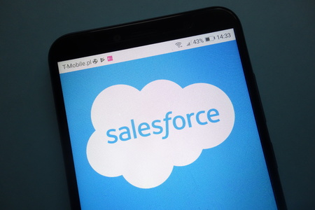 KONSKIE, POLAND - OCTOBER 28, 2018: Salesforce on smartphone