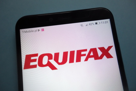 KONSKIE, POLAND - November 03, 2018: Equifax logo on smartphone