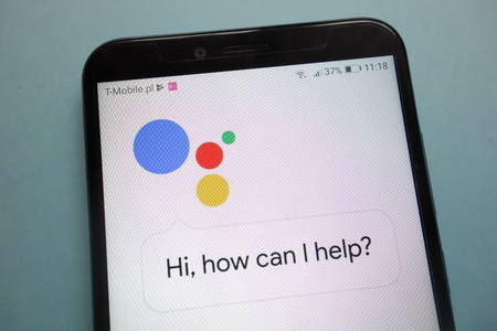 KONSKIE, POLAND - November 03, 2018: Google Assistant logo on smartphone Editorial