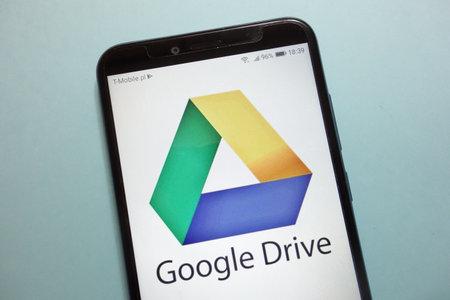 KONSKIE, POLAND - November 10, 2018: Google Drive logo on smartphone