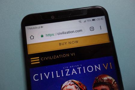 KONSKIE, POLAND - November 10, 2018: Civilization game official website displayed on smartphone