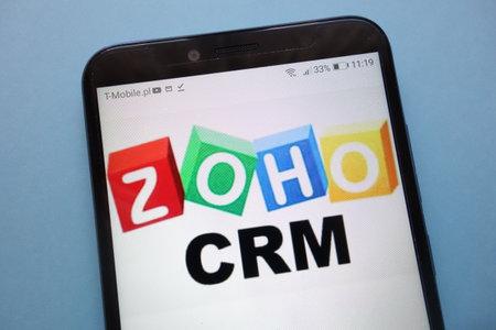 KONSKIE, POLAND - November 12, 2018: Zoho CRM logo displayed on smartphone