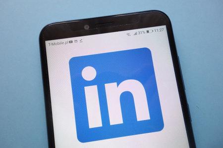 KONSKIE, POLAND - November 12, 2018: LinkedIn logo displayed on smartphone