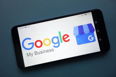 KONSKIE, POLAND - November 25, 2018: Google My Business logo displayed on smartphone