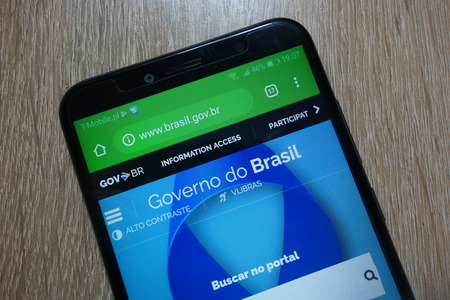 KONSKIE, POLAND - December 01, 2018: the website of the Brazilian Government (www.brasil.gov.br) displayed on smartphone