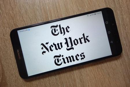 KONSKIE, POLAND - December 01, 2018: The New York Times logo displayed on smartphone Redakční