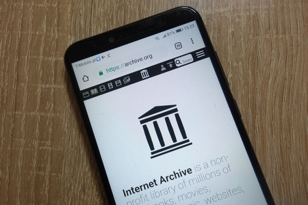 KONSKIE, POLAND - December 09, 2018: Internet Archive website (archive.org) displayed on smartphone