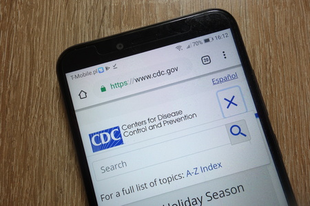 KONSKIE, POLAND - December 09, 2018: Centers for Disease Control and Prevention (CDC) website displayed on smartphone