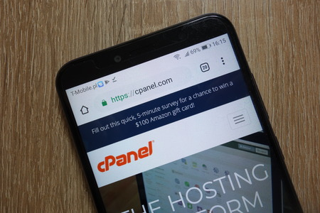 KONSKIE, POLAND - December 09, 2018: cPanel website (cpanel.com) displayed on smartphone. cPanel is an online Linux-based web hosting control panel Editorial