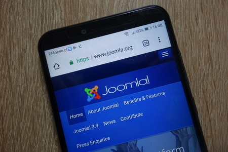 KONSKIE, POLAND - December 09, 2018: Joomla! website (www.joomla.org) displayed on smartphone