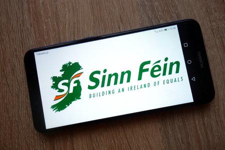 KONSKIE, POLAND - January 05, 2019: Sinn Fein Irish republican political party logo displayed on smartphone