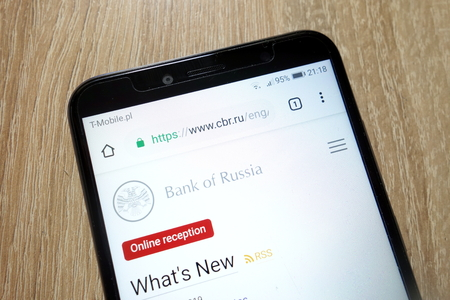 KONSKIE, POLAND - January 11, 2019: Central Bank of Russia website (www.cbr.ru) is displayed on Huawei Y6 2018 smartphone