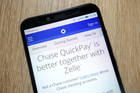 KONSKIE, POLAND - January 11, 2019: Chase QuickPay website displayed on smartphone