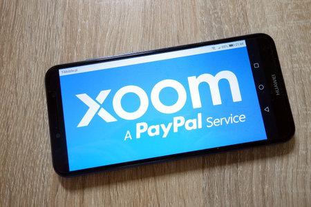 KONSKIE, POLAND - January 11, 2019: Xoom logo displayed on smartphone