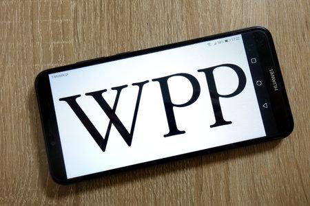 KONSKIE, POLAND - January 10, 2019: WPP plc logo displayed on smartphone