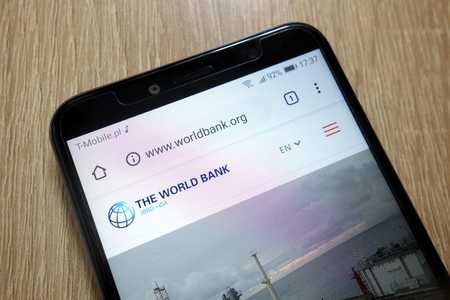 KONSKIE, POLAND - January 11, 2019: The World Bank website (www.worldbank.org) displayed on smartphone