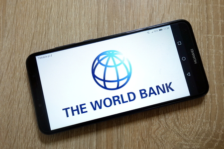 KONSKIE, POLAND - January 11, 2019: The World Bank logo displayed on smartphone Editorial