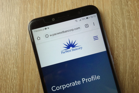 KONSKIE, POLAND - January 31, 2019: PacWest Bancorp website (www.pacwestbancorp.com) displayed on smartphone
