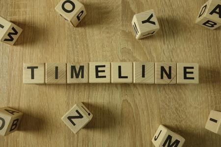 Timeline word from wooden blocks on desk
