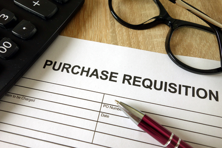 Purchase requisition, pen, calculator and glasses on desk Stock Photo - 119891666