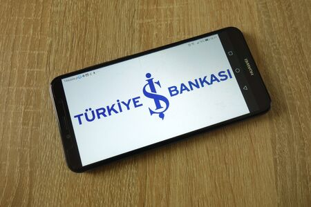 KONSKIE, POLAND - March 16, 2019: Turkiye is Bankasi logo displayed on smartphone