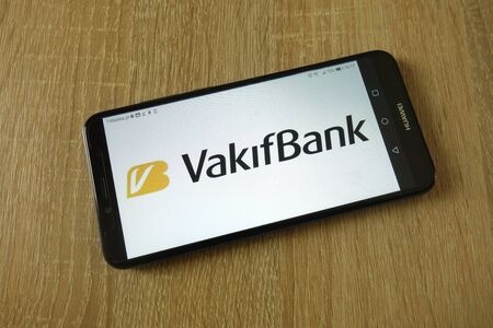 KONSKIE, POLAND - March 16, 2019: VakifBank logo displayed on smartphone Editorial