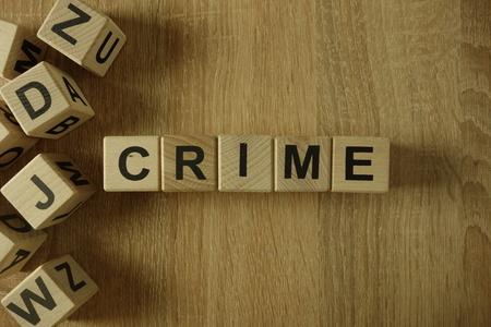 Crime word from wooden blocks on desk
