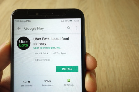 KONSKIE, POLAND - May 18, 2019: Uber Eats - Local food delivery app on Google Play Store website displayed on mobile phone