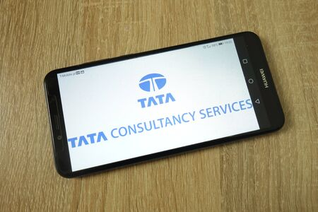 KONSKIE, POLAND - June 11, 2019: Tata Consultancy Services Limited company logo displayed on mobile phone Editoriali