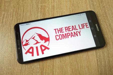 KONSKIE, POLAND - June 21, 2019: Aia Group Limited company logo displayed on mobile phone Redakční