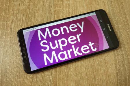 KONSKIE, POLAND - June 21, 2019: Moneysupermarket.com Group PLC company logo displayed on mobile phone Redakční