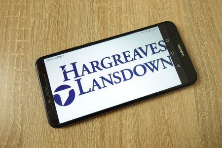 KONSKIE, POLAND - June 21, 2019: Hargreaves Lansdown plc company logo displayed on mobile phone Redakční