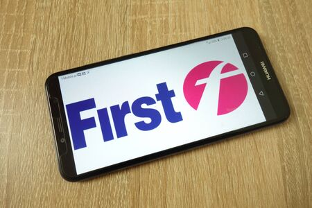 KONSKIE, POLAND - June 21, 2019: FirstGroup plc company logo displayed on mobile phone Redakční