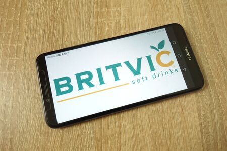 KONSKIE, POLAND - June 21, 2019: Britvic plc company logo displayed on mobile phone Redakční