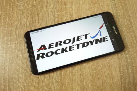 KONSKIE, POLAND - June 21, 2019: Aerojet Rocketdyne company logo displayed on mobile phone