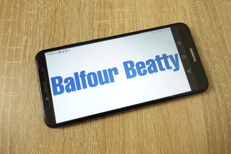 KONSKIE, POLAND - June 21, 2019: Balfour Beatty plc company logo displayed on mobile phone Redakční