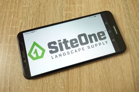 KONSKIE, POLAND - June 21, 2019: SiteOne Landscape Supply company logo displayed on mobile phone