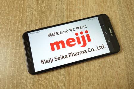 KONSKIE, POLAND - June 21, 2019: Meiji Seika Pharma Co Ltd company logo displayed on mobile phone