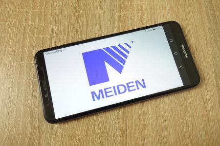 KONSKIE, POLAND - June 21, 2019: Meidensha Corporation company logo displayed on mobile phone