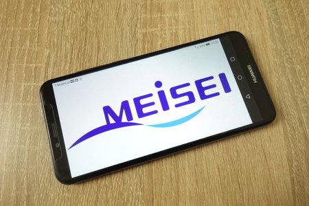 KONSKIE, POLAND - June 21, 2019: Meisei Electric Co Ltd company logo displayed on mobile phone Redakční
