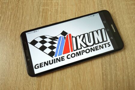 KONSKIE, POLAND - June 21, 2019: Mikuni Corporation company logo displayed on mobile phone