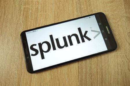 KONSKIE, POLAND - June 21, 2019: Splunk Inc company logo displayed on mobile phone